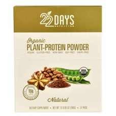 22 Days Nutrition Organic Plant-Protein Powder Natural -- 12 Packets